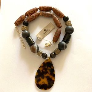 NWT Barse Beautiful Agat and Onyx Stone Necklace
